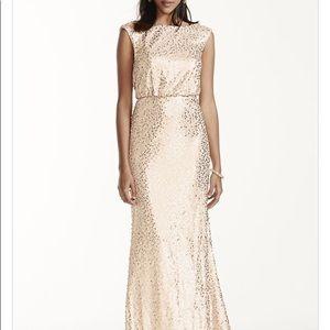 Long Gold Sequin Blouson Dress
